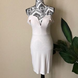 Plunging off white dress by city studio